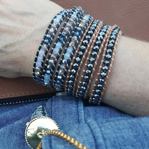 Image of Hematite on Natural Leather Wrap Bracelet