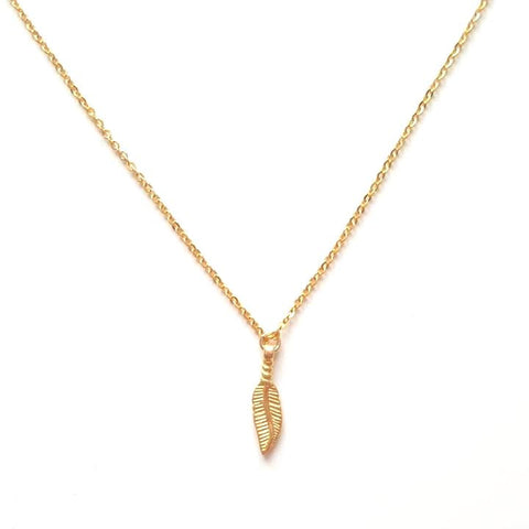Image of Feather Pendant Necklace in Gold