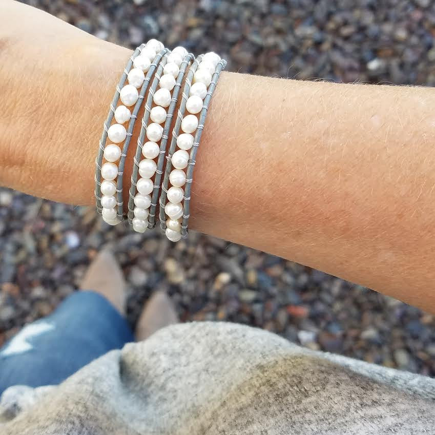 Freshwater Pearls on Gray Leather Wrap Bracelet