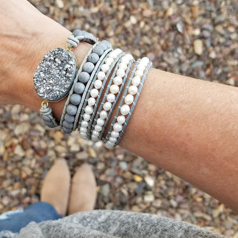 Image of Freshwater Pearls on Gray Leather Wrap Bracelet