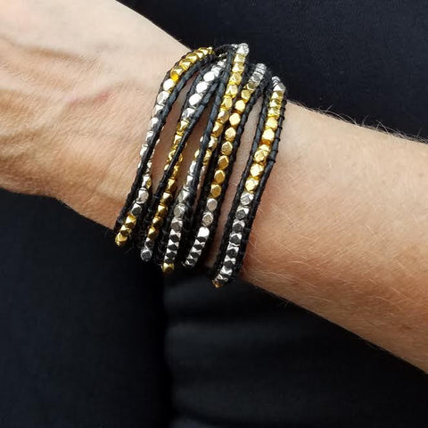 Image of Gold and Silver Nuggets on Black Leather Wrap Bracelet