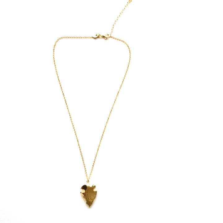 Arrowhead Pendant Necklace in Gold