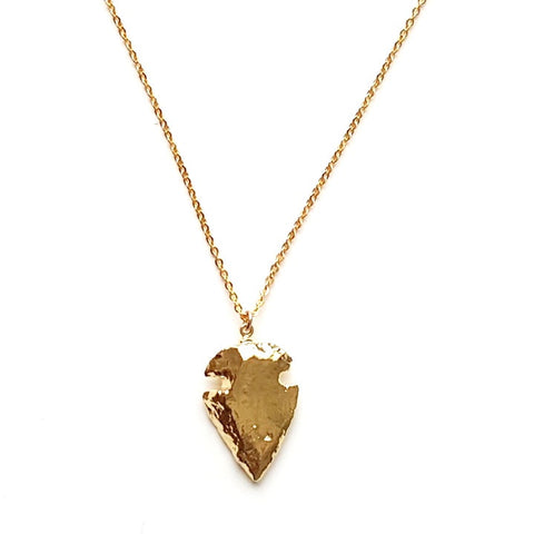 Image of Arrowhead Pendant Necklace in Gold