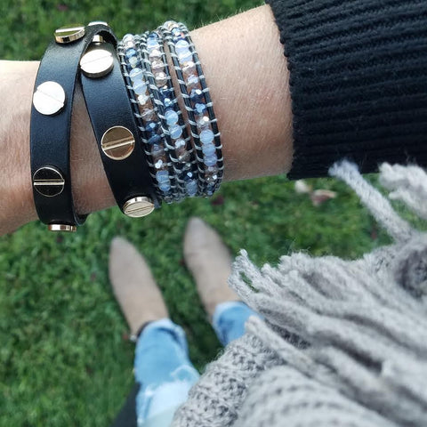 Image of Midnight Mix on Black Leather Wrap Bracelet