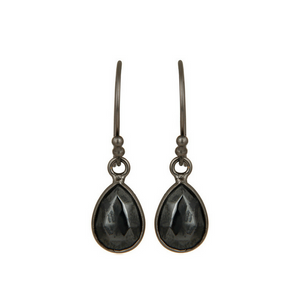 Hematite Oxidized Sterling Silver Drop Earrings