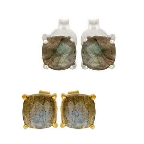 Labradorite Sterling Silver Stud Earrings in Gold or Silver