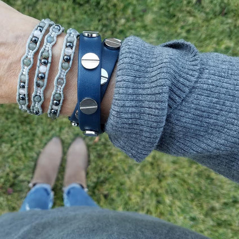Silver Studded Navy Blue Leather Double Wrap Bracelet