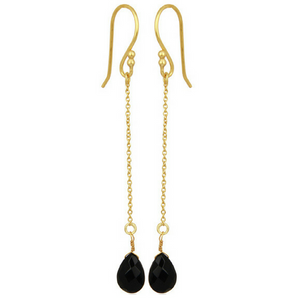 Black Onyx Gold Vermeil Chain Dangle Earrings