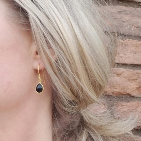 Image of Black Onyx Gold Vermeil Drop Earrings
