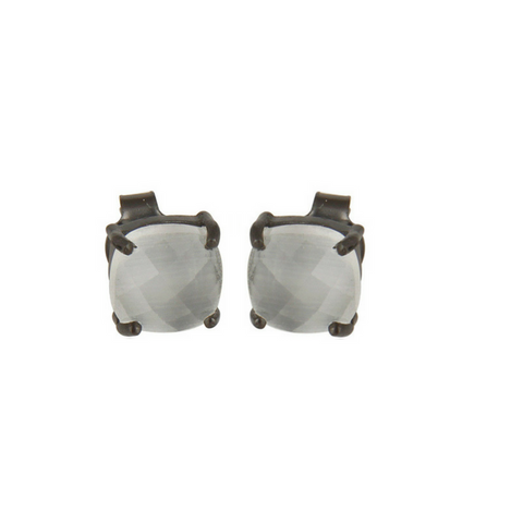 Image of Rainbow Moonstone Oxidized Sterling Silver Stud Earrings