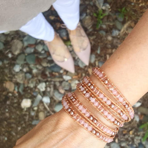 Image of Rose Gold Pearl and Rose Quartz on Natural Leather Wrap Bracelet