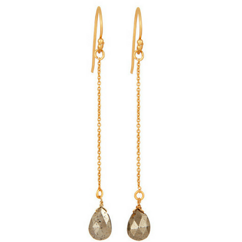 Pyrite Gold Vermeil Chain Dangle Earrings