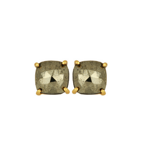 Image of Pyrite Gold Sterling Silver Stud Earrings