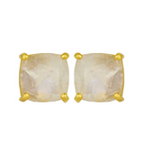 Rainbow Moonstone Gold Vermeil Stud Earrings