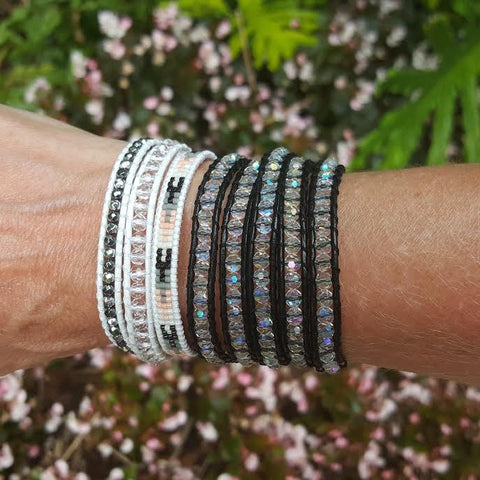 Image of Hematite and Crystal with Miyuki Glass Seed Beads on White Leather Wrap Bracelet