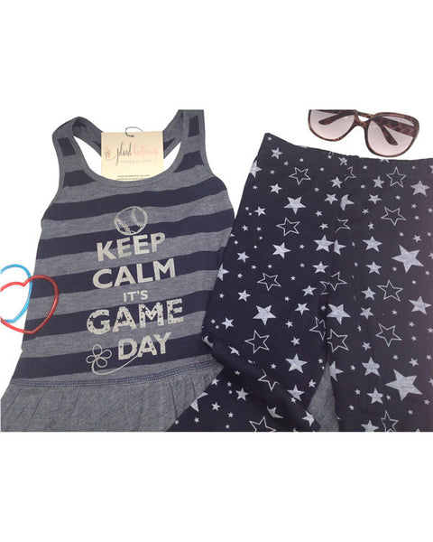 Keep Calm It's Game Day Baseball Tank Dress - Plaid Buttercup