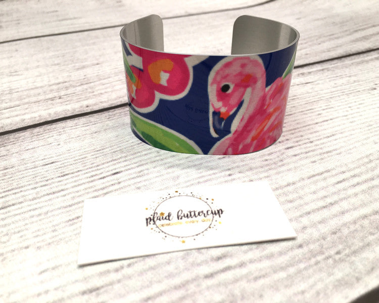Flamingo Cuff Bracelet - Plaid Buttercup
