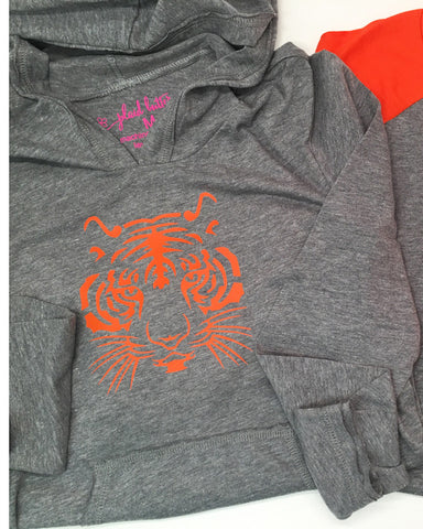 Tiger Face Hoodie or Tee - Plaid Buttercup