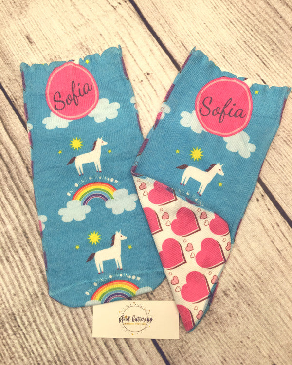 Unicorn Love Socks - Plaid Buttercup