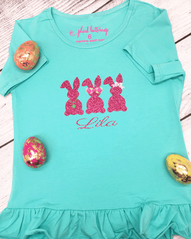 Three Cool Bunnies Tee - Plaid Buttercup