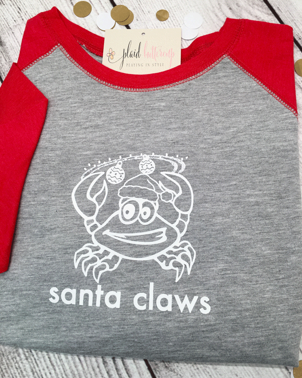 Santa Claws Coastal Christmas Tee - Plaid Buttercup