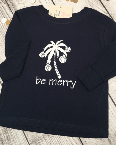 be merry coastal tee - Plaid Buttercup