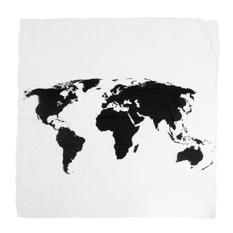 Organic Cotton Muslin Swaddle Blanket - World Map Pattern - Plaid Buttercup