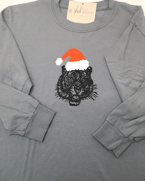 Tiger Santa Tee - Plaid Buttercup