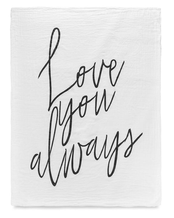 Modern Burlap Love You Always Swaddle Blanket