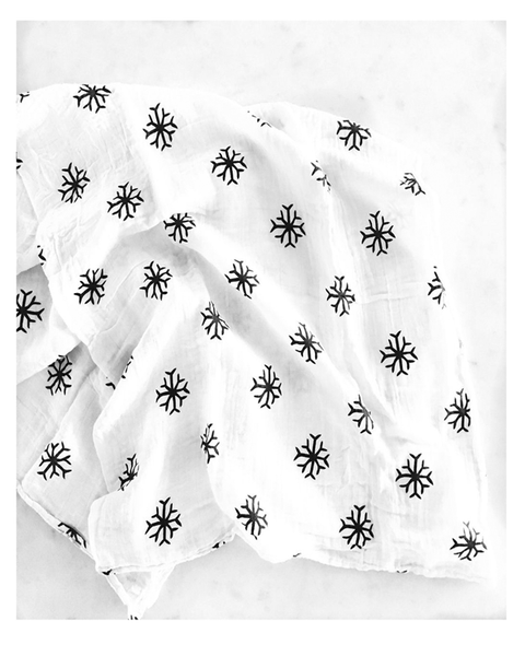 Modern Burlap Snowflake Swaddle - Plaid Buttercup