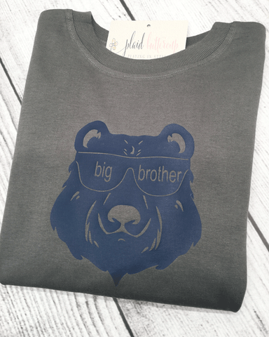 Big Brother Bear Tee - Plaid Buttercup