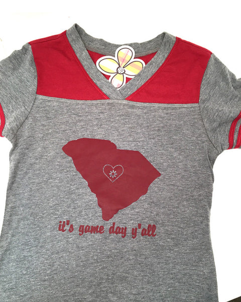 It's Game Day Y'all South Carolina Tee - Plaid Buttercup