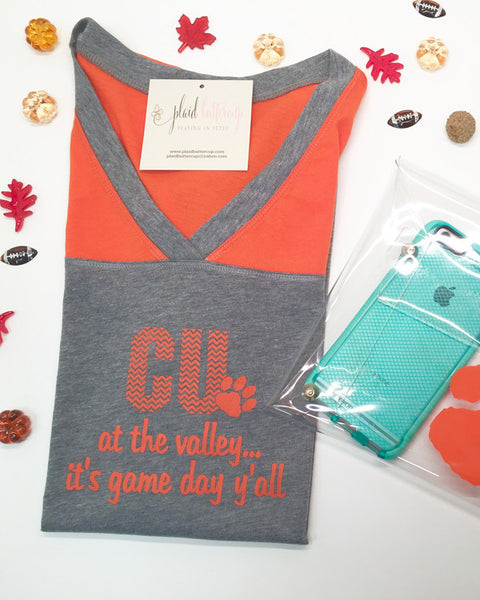 CU at the Valley Clemson Tee - Plaid Buttercup