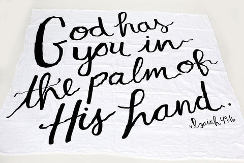 Organic Cotton Muslin Swaddle Blanket - God Has You in the Palm of His Hand - Plaid Buttercup