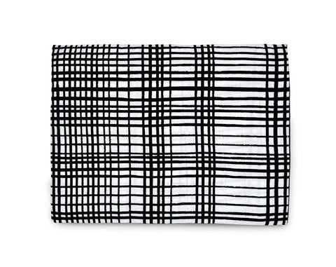 Organic Cotton Muslin Swaddle Blanket - Grid Pattern - Plaid Buttercup