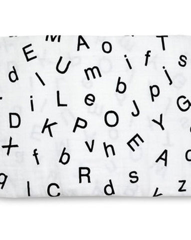 Organic Cotton Muslin Swaddle Blanket - Alphabet Pattern - Plaid Buttercup