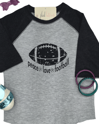 peace, love, football tee - Plaid Buttercup