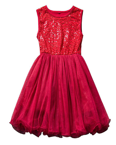 Red Sequin Party Dress - Plaid Buttercup