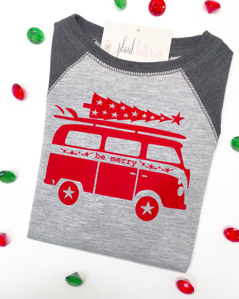 Be Merry Surfer Van - Plaid Buttercup
