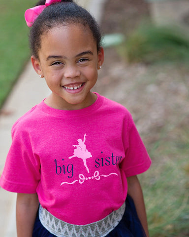 Ballerina Big Sister Tee - Plaid Buttercup