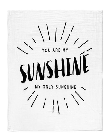 Modern Burlap You Are My Sunshine Swaddle - Plaid Buttercup