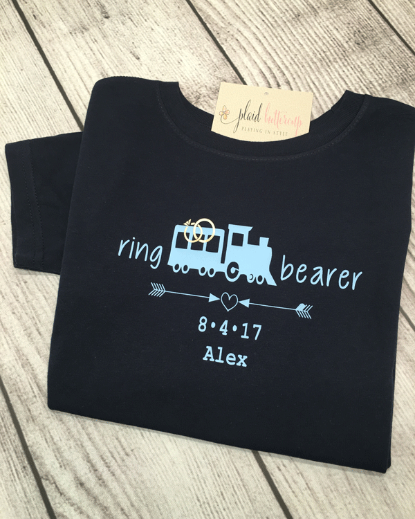Train Ring Bearer Tee - Plaid Buttercup
