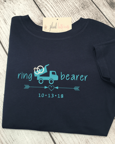 Dump Truck Ring Bearer Tee - Plaid Buttercup