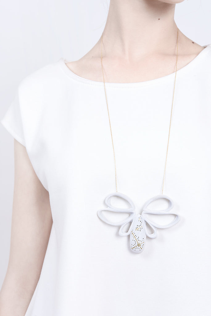 contemporary statement pendant necklace, big white pendant necklace by lacuna jewelry