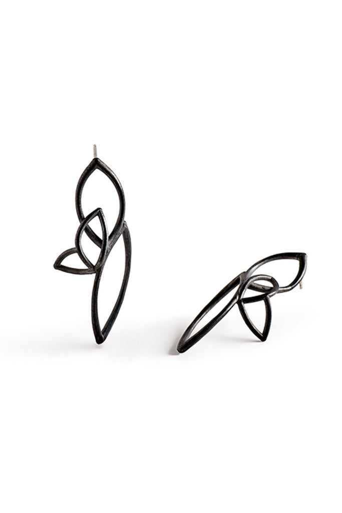 Unique black long dangle stud earrings from sterling silver by lacuna jewelry