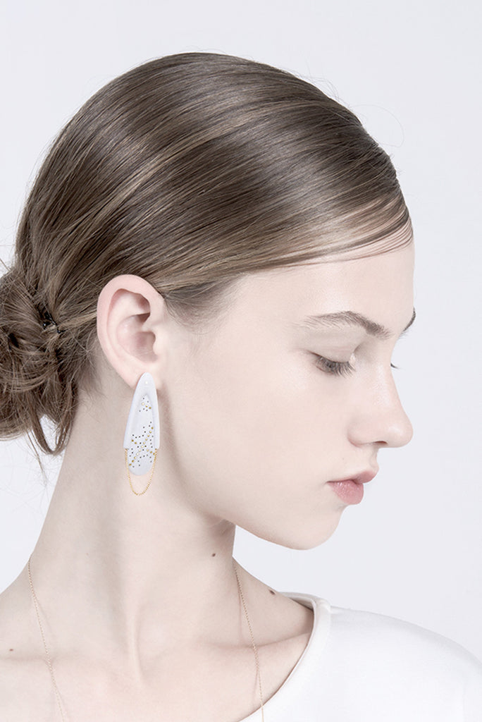 contemporary long dangle studs for bride, statement earrings, elegant earrings, white jewelry by lacuna jewelry
