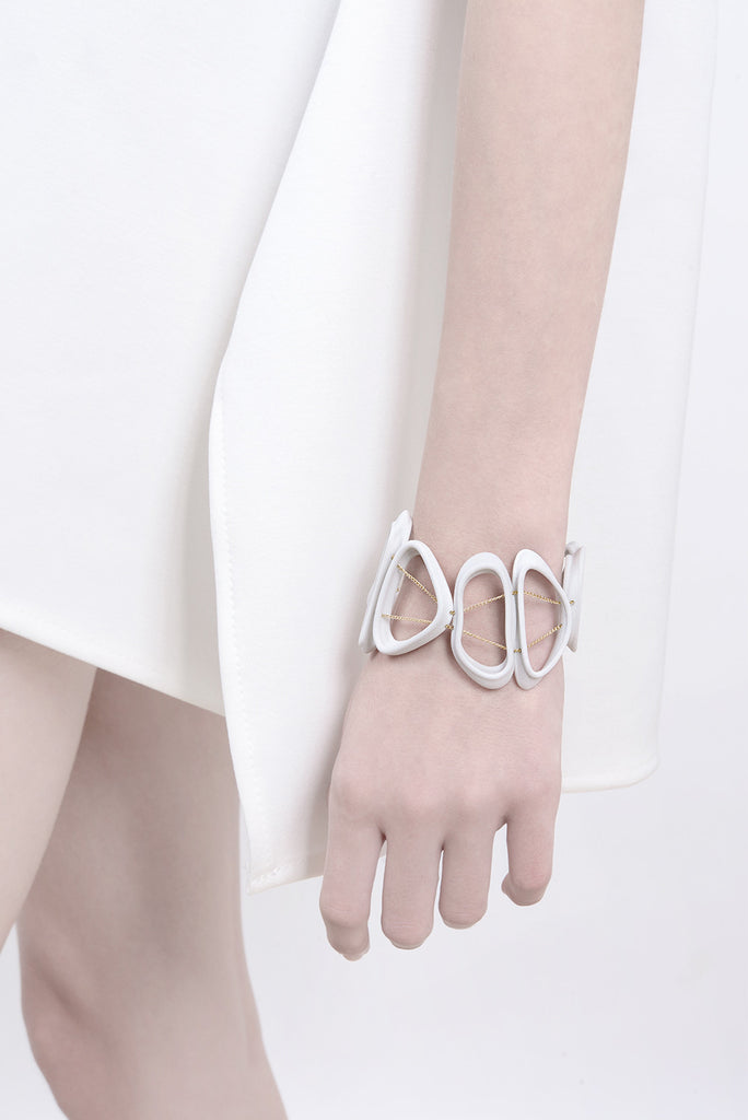 contemporary bracelet, white bracelet, unique bracelet by lacuna jewelry, yafit ben meshulam