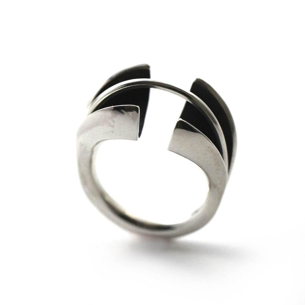 contemporary ring, novelty ring, statement ring, sterling silver ring, handmade by lacuna jewelry