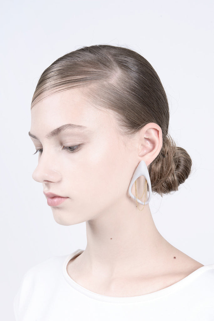 contemporary long earrings for bride, long studs, statement earrings by lacuna jewelry