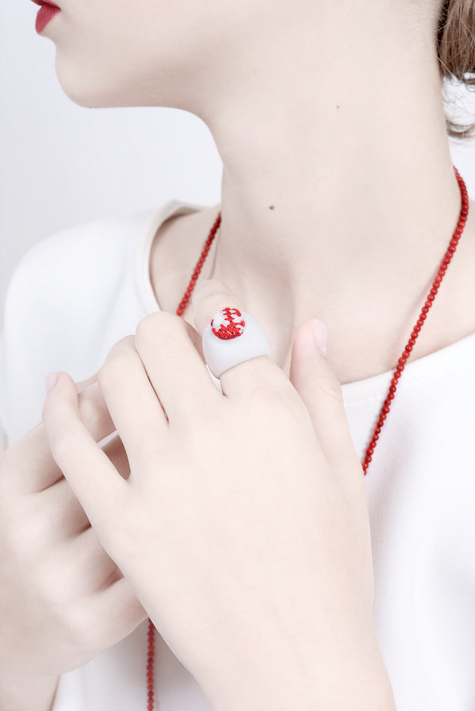 contemporary ring, art ring, embroidery ring, ceramic ring, red and white ring, jewelry design, lacuna jewelry, yafit ben meshulam, made in israel